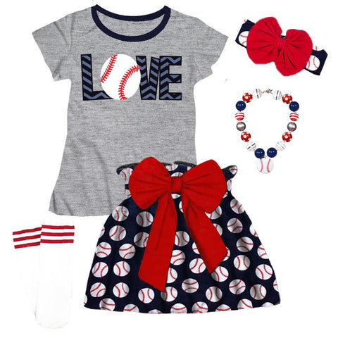 Navy Love Baseball Outfit Red Bow Skirt Gray