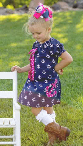 Navy Pink Anchor Polka Dress