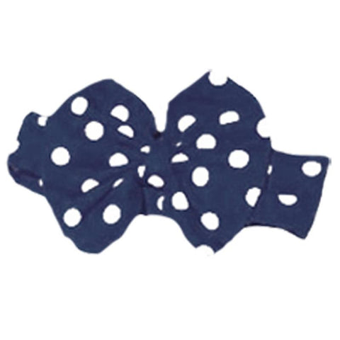 Navy Polka Dot Messy Bow Headband