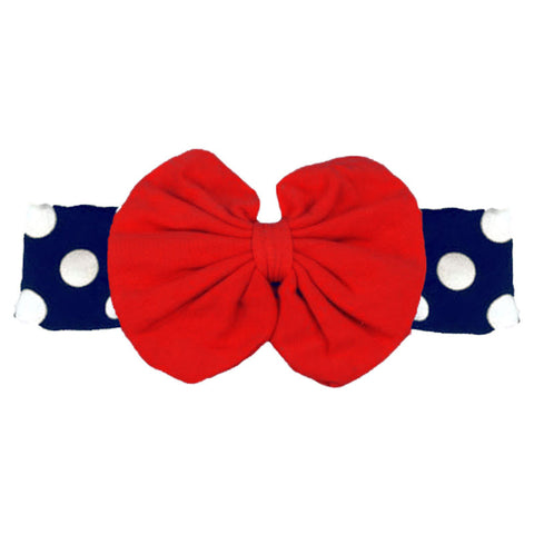 Navy Polka Red Messy Bow Headband