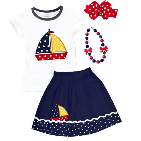 Navy Polka Sailboat Top And Skirt