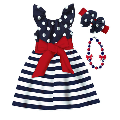 Navy Polka Stripe Red Bow Dress