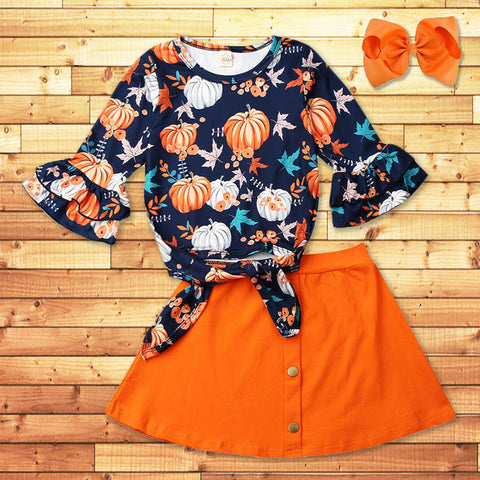 Navy Pumpkin Fall Leaves Outfit Orange Tie Top And Skirt