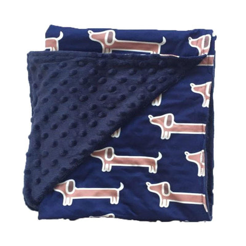 Navy Puppy Dog Minky Blanket