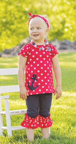 Navy Red Polka Anchor Capri Set