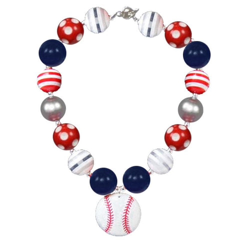 Navy Red Stripe Baseball Necklace Chunky Gumball