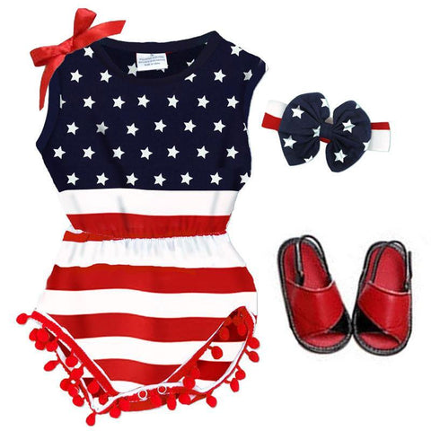 Navy Red Stripe Romper Stars Pom