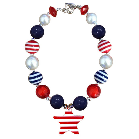 Navy Red Stripe Star Necklace