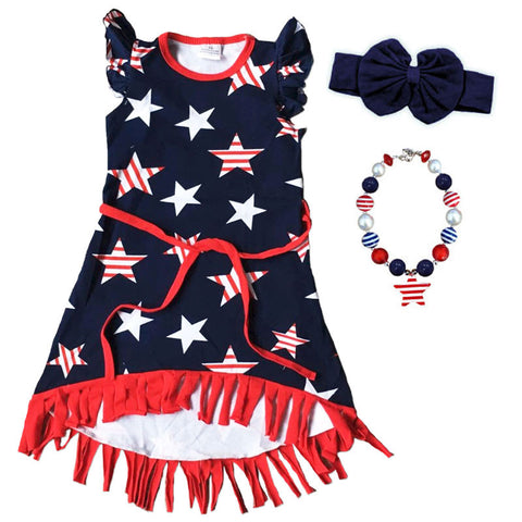 Navy Red Stripestar Fringe Dress