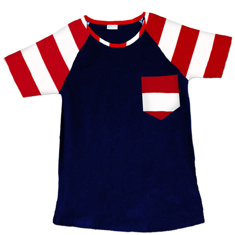 Navy Red Stripes Pocket Shirt