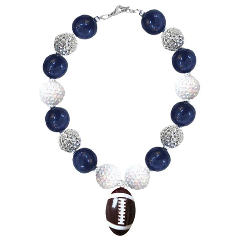 Navy Silver Football Necklace White Chunky Gumball