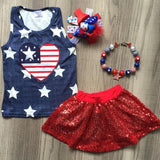 Navy Star Heart Flag Outfit Red Sequin Top And Skirt