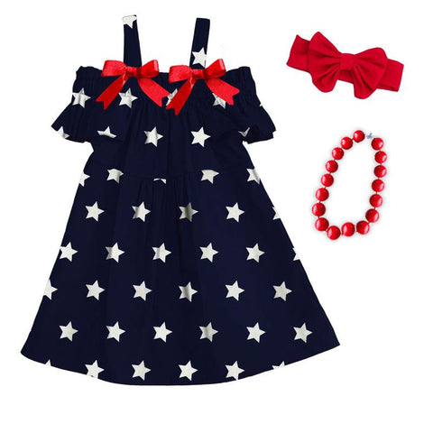 Navy Star Sun Dress Red Bow