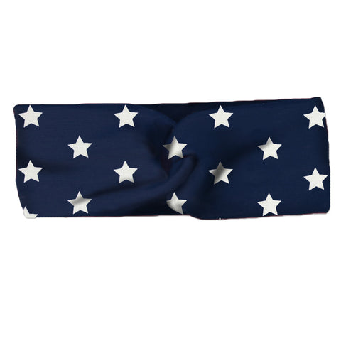 Navy Star Turban Head Wrap