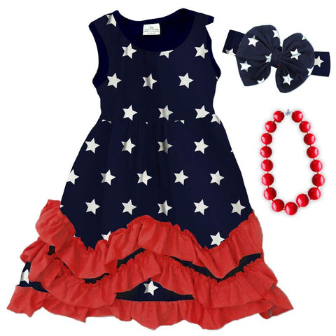 Navy Stars Dress Red Layered Ruffle