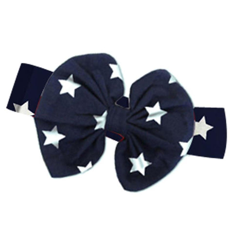 Navy Stars Messy Bow Headband