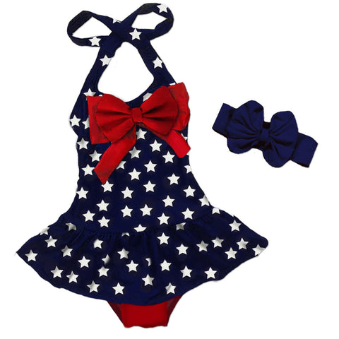 Navy Stars Red Bow Swimsuit