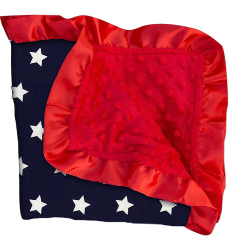 Navy Stars Red Minky Blanket