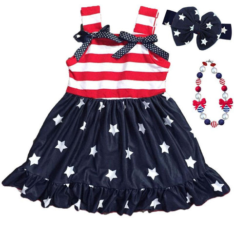 Navy Stars Ruffle Dress Polka Dot Stripe Bow
