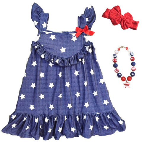 Navy Stars Ruffle Dress Red Bow