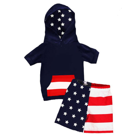 Navy Stars Stripes Outfit Boy Hoodie And Shorts