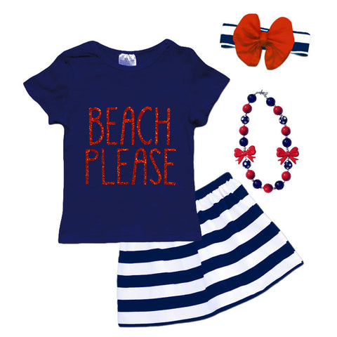 Navy Stripe Beach Please Top And Skirt
