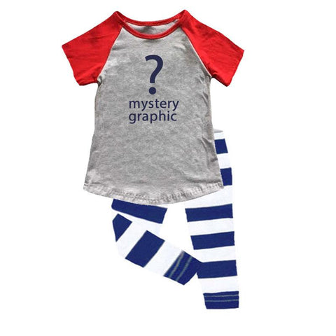 Navy Stripe Gray Outfit Red Raglan Top And Capri Mystery