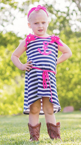 Navy Stripe Hot Pink Polka Anchor Dress