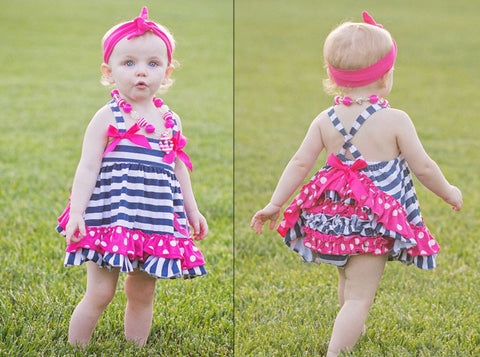 Navy Stripe Hot Pink Polka Anchor Two Piece Dress