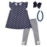 Navy Stripe Outfit Polka Dot Top And Pants
