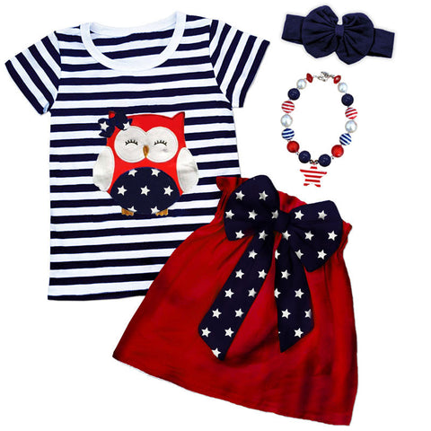 Navy Stripe Owl Bow Top And Skirt