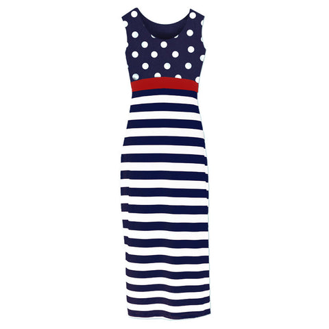 Navy Stripe Polka Mommy Dress