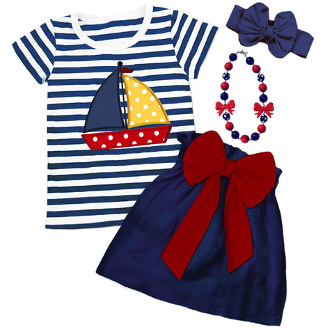 Navy Stripe Polka Sailboat Bow Top And Skirt