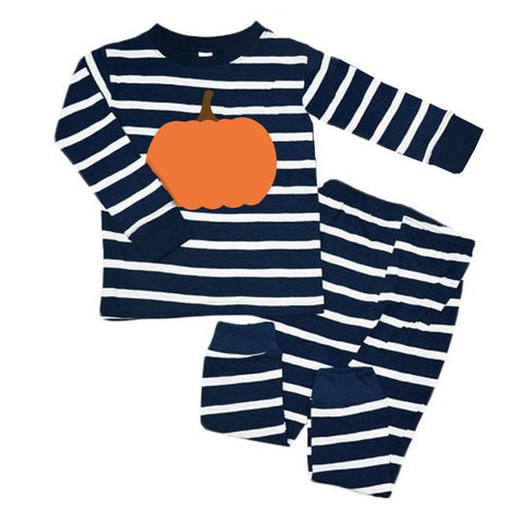 Navy Stripe Pumpkin Pajamas