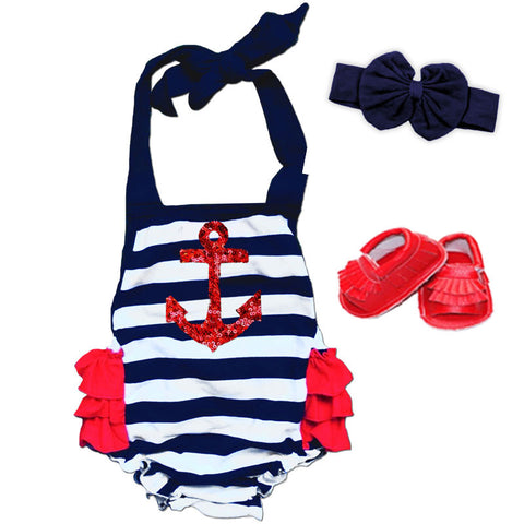Navy Stripe Red Sequin Anchor Romper