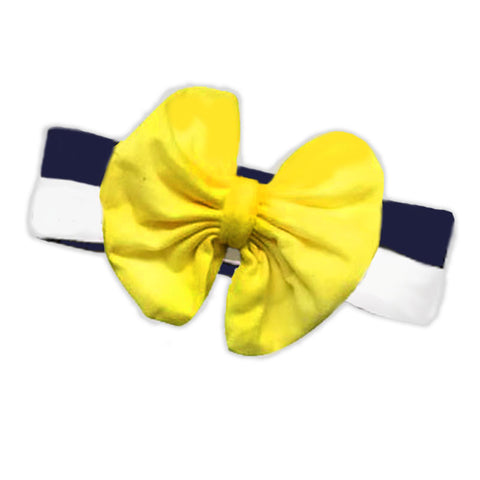 Navy Stripe Yellow Messy Bow Headband