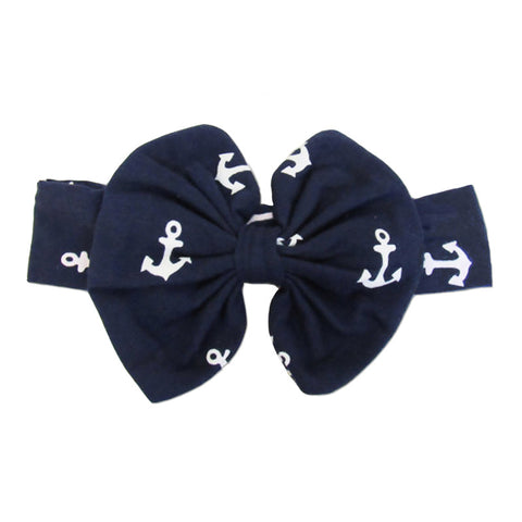 Navy White Anchor Messy Bow Headband
