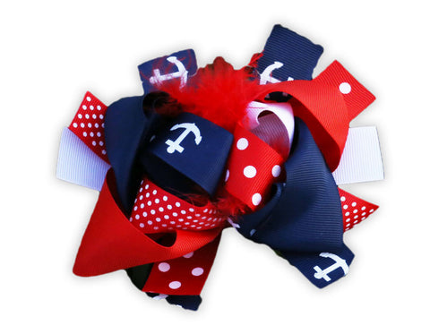 Navy White Red Anchor Bow