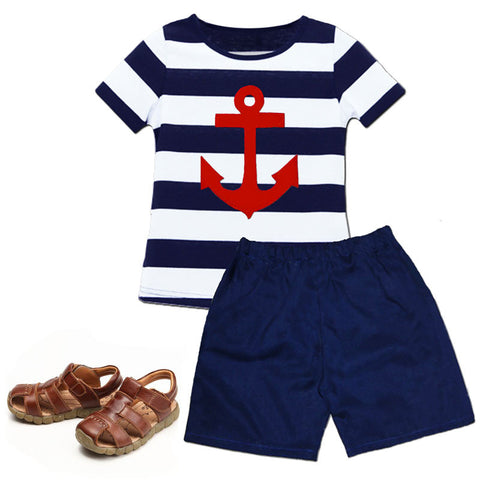 Navy White Stripe Red Anchor Shirt And Shorts