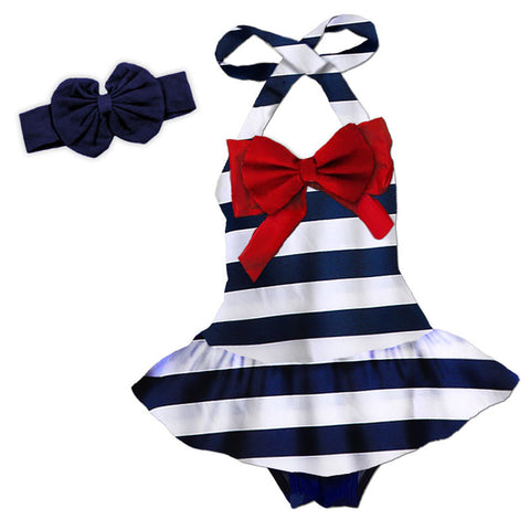 Navy White Stripe Red Bow Swimsuit