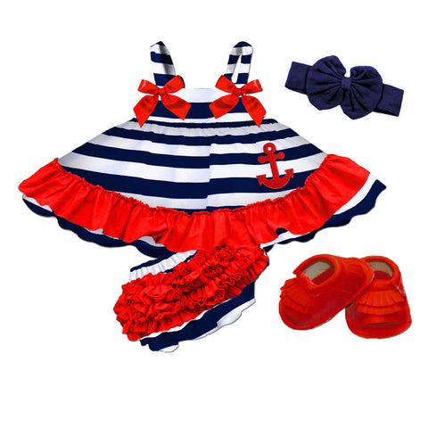 Navy White Stripe Red Ruffle Two Piece Dress