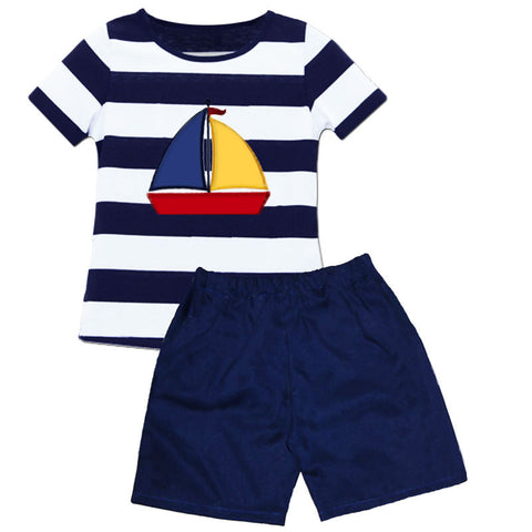 Navy White Stripe Sailboat Shirt And Shorts