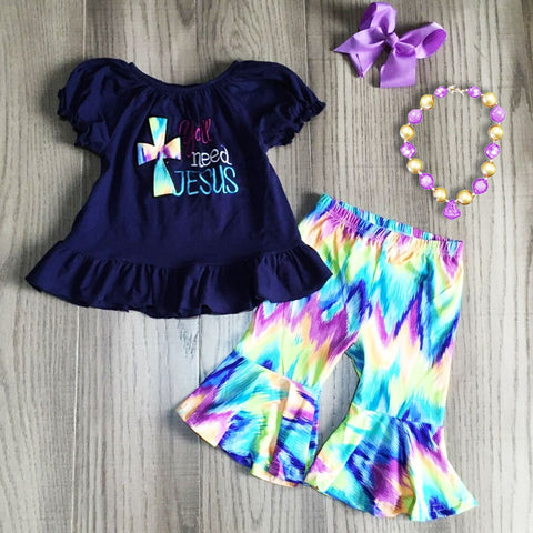 Need Jesus Teal Navy Tie Dye Top And Capri Necklace And Bow Set