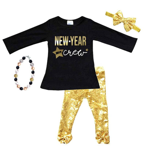 New Year Crew Outfit 2019 Black Gold Foil Top And Pants Sequin