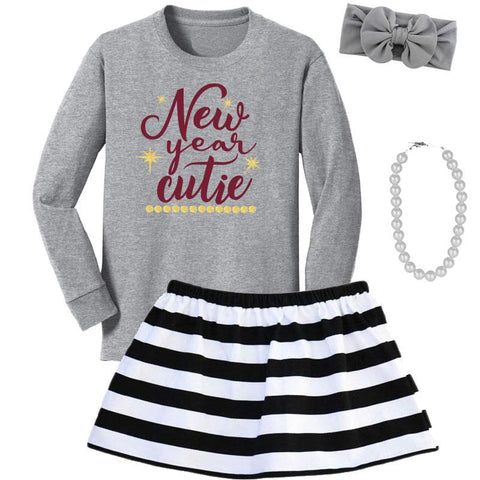 New Year Cutie Outfit Gray Gold Top And Skirt Black Stripe
