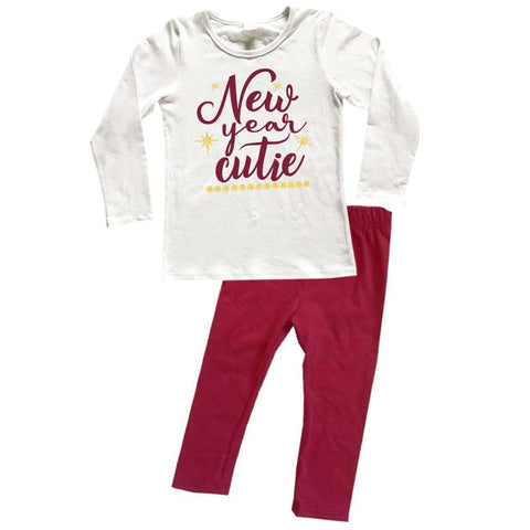 New Year Cutie Outfit Maroon Gold Top And Pants