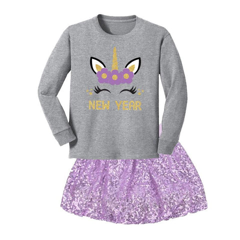 New Year Unicorn Outfit Gray Lavender Sequin Top And Skirt
