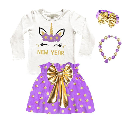 New Year Unicorn Outfit Purple Gold Polka Dot Top And Skirt
