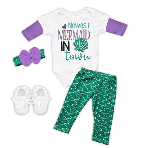 Newest Mermaid In Town Onesie Pant Set