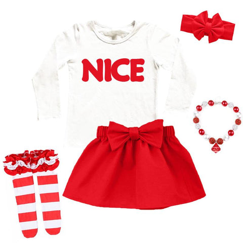 Nice Red Outfit Bow White Top And Skirt